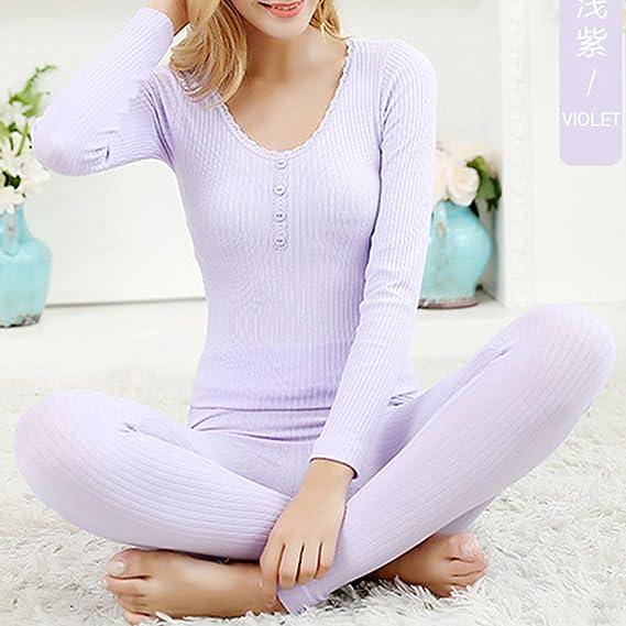 Mujer Nuevo Conjunto térmico Invierno Chaqueta+Pantalones Larga Ropa Interior Conjunto de Pijama: Amazon.es: Ropa y accesorios