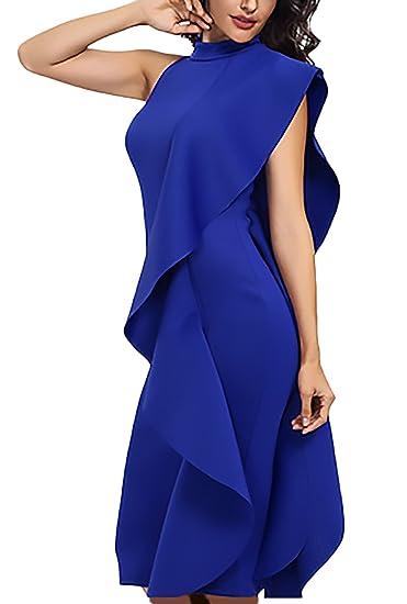 Mujer Vestidos Fiesta Elegante Sin Mangas Cuello Redondo Sin Tirantes Medium Largos Lindo Chic Vestido De