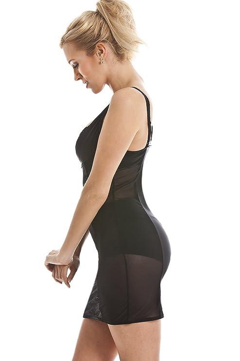 97132d0062ddc Camille Black Body Fitting Under Bust Body Shaper Light Control Full Slip  Dress 6 8 Black at Amazon Women s Clothing store