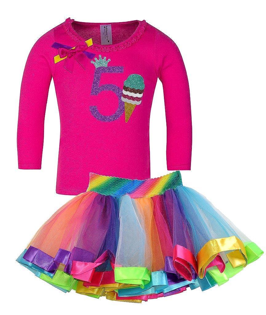 Bubblegum Divas Little Girls 5th Birthday Ice Cream Cone Shirt Rainbow Tutu Outfit