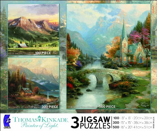Ceaco Thomas Kinkade 3 in 1 Multi-Pack-Dusk in the Valley, Beginning of a Perfect Day, The Mountain Chapel
