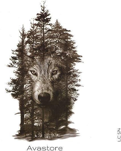 Tatuaje temporal de lobo de Avastore: Amazon.es: Belleza