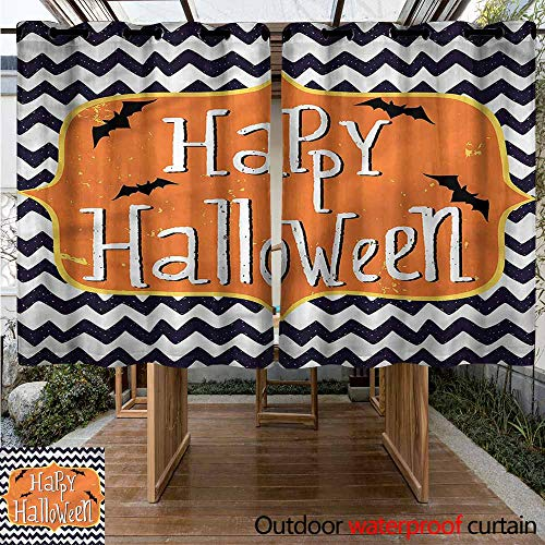 Sunnyhome Living Room/Bedroom Window Curtains Halloween Doodle Style Chevron Bats Energy Efficient, Room Darkening W 55
