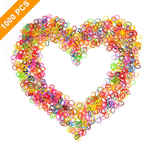 Mini Rubber Bands Hair Ties, 1000PCS Small Size Multiple Color Elastic Hair Bands Ties for Women,Girls or Toddlers