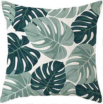Almohada de sofa Plantas tropicales Hoja de palma Funda de ...