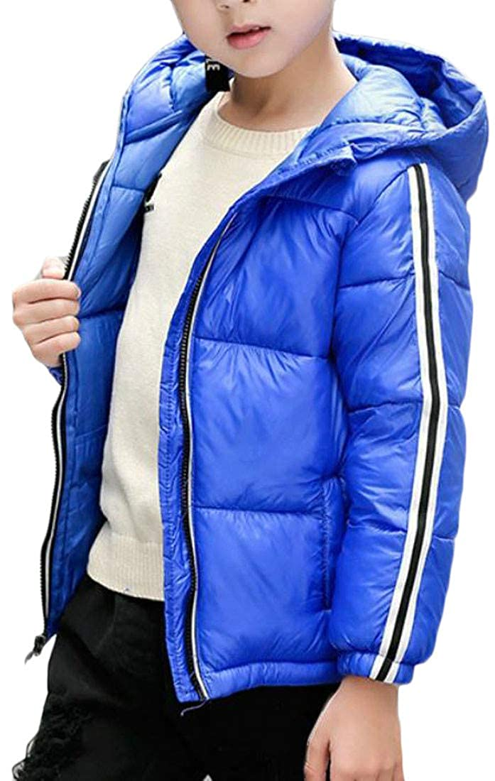 Etecredpow Boy Girl Winter Down Jacket Stripe Quilted Hooded Cotton-Padded Parka Coat