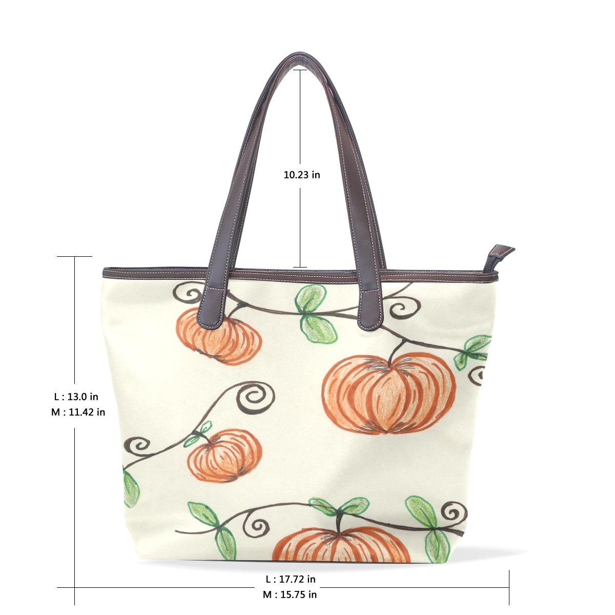 Ye Store Four Pumpkins Lady PU Leather Handbag Tote Bag Shoulder Bag Shopping Bag