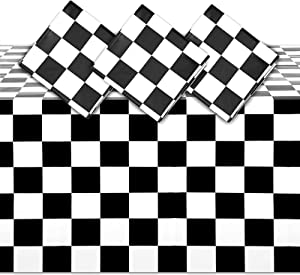 Checkered Plastic Tablecloth, Black and White Party Decor (54 x 108 in, 3 Pack)