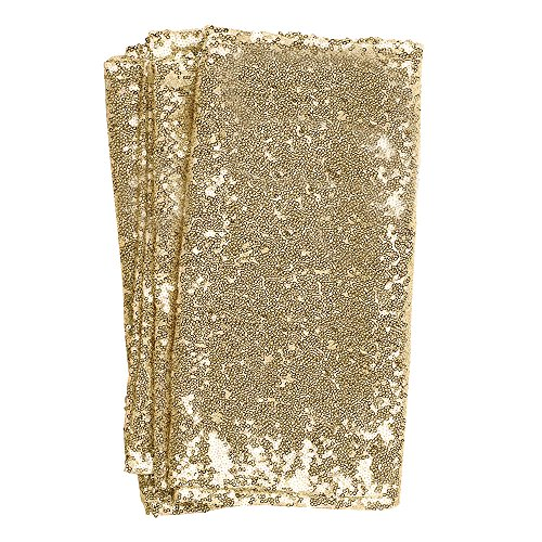 Ling's moment Sparkly Sequin Table Runner Champagne 12 x 108 Inch (Hem Edge) for Thanksgiving Christmas Wedding Engagement Party Bridal Baby Shower Dresser Decorations by Ling's moment
