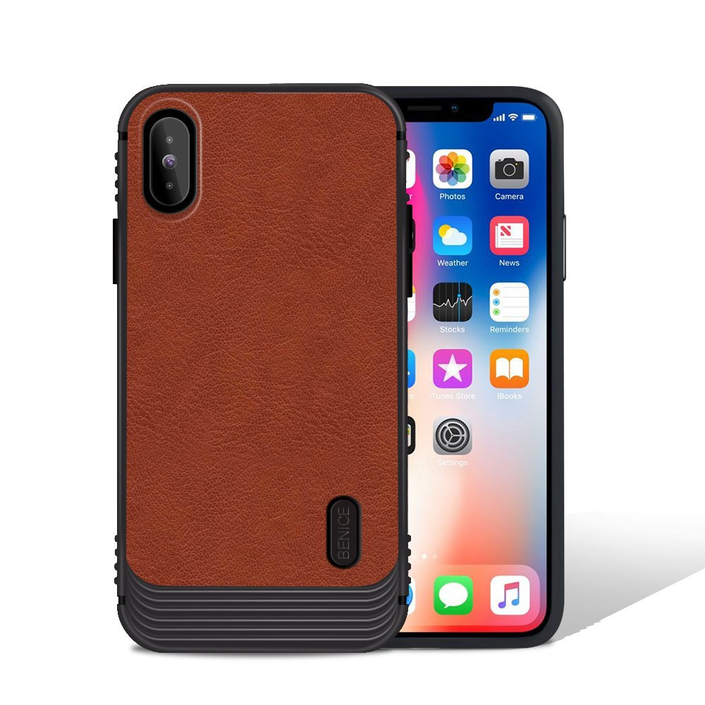 iPhone X case, MagicSky Ultra Slim Premium PU Leather Shock-absorbing Protective Bumper Case Cover with Built-in Nickel Metal Plate work with Universal Magnetic Phone Car Mount Holder - Brown