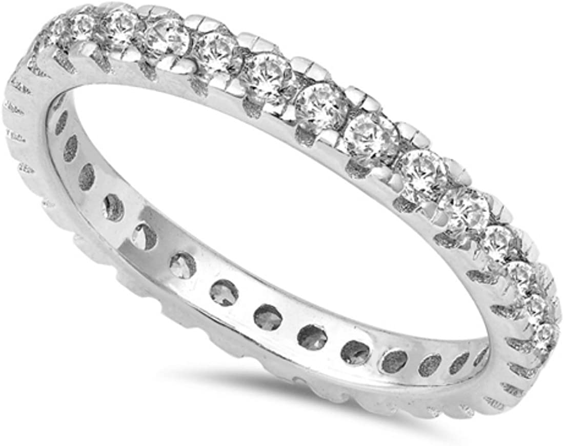 Blue Apple Co. 2mm Full Eternity Stackable Band Ring Round Cubic Zirconia 925 Sterling Silver 5-10