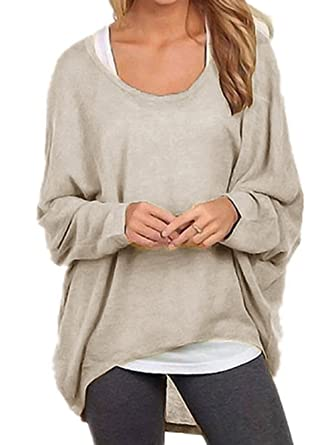 6d3e689a1f5704 TINYHI Women's Casual Oversized Baggy Off-Shoulder Shirts Pullover Tops  Beige
