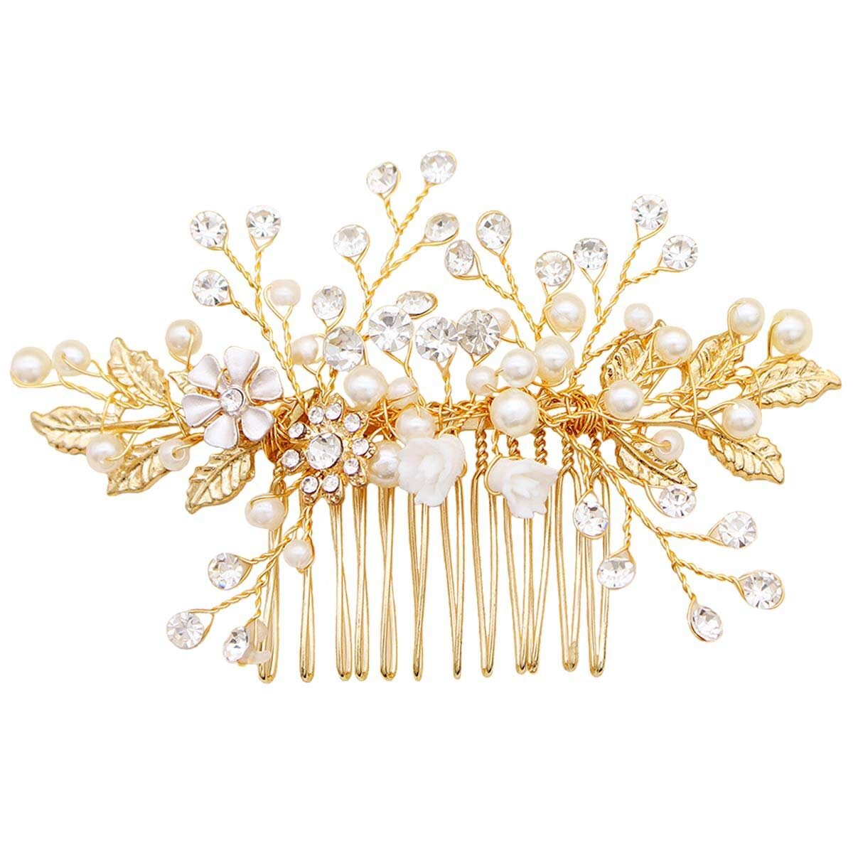 Sppry Bridal Hair Comb - Bendable Pearl Crystal Hair Accessory for Women at Wedding, Gold by Sppry