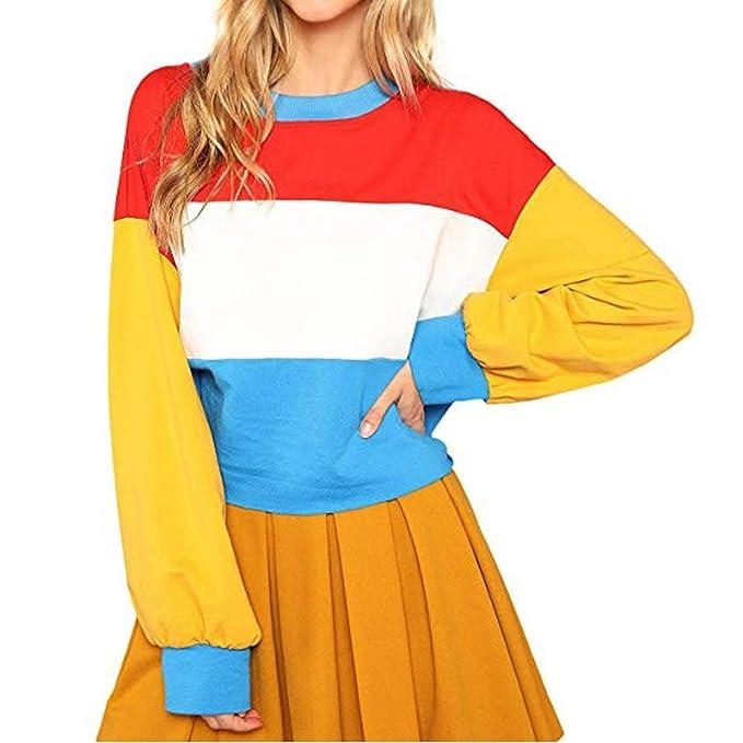 OverDose mujer Cortan Coser Sudadera De Gran TamañO Bloque De Color A Rayas Mejor Venta Camisa De Manga Larga Blusa Ocasional Camisa De La SeñOra: ...