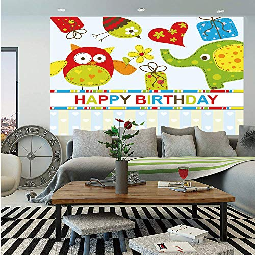 SoSung Birthday Decorations for Kids Huge Photo Wall Mural,Patchwork Design Owls Birds Hearts and Boxes Party Theme Art,Self-Adhesive Large Wallpaper for Home Decor 108x152 inches,Multicolor -
