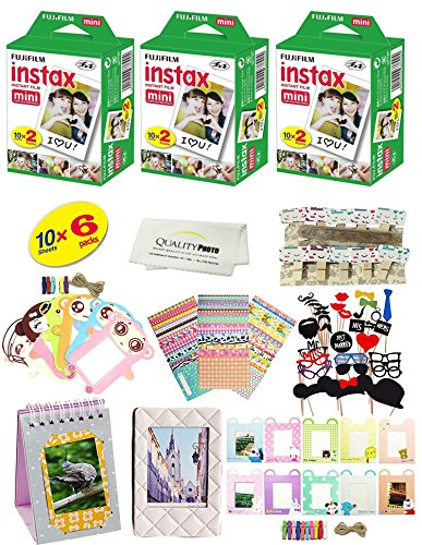 Fujifilm Instax Mini 9 & mini 8 Camera Accessory KIT Includes - Fuji Instant Film 60 SHEETS + Over 60 PCS Premium Bundle For Fujifilm Instax Mini 8 & mini 9 Films Fujifilm Kit