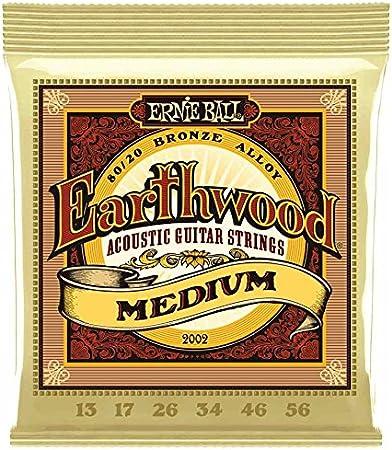 Ernie Ball 2002Earthwood 80/20bronce–Medium–Juego de cuerdas de guitarra acústica 13–56