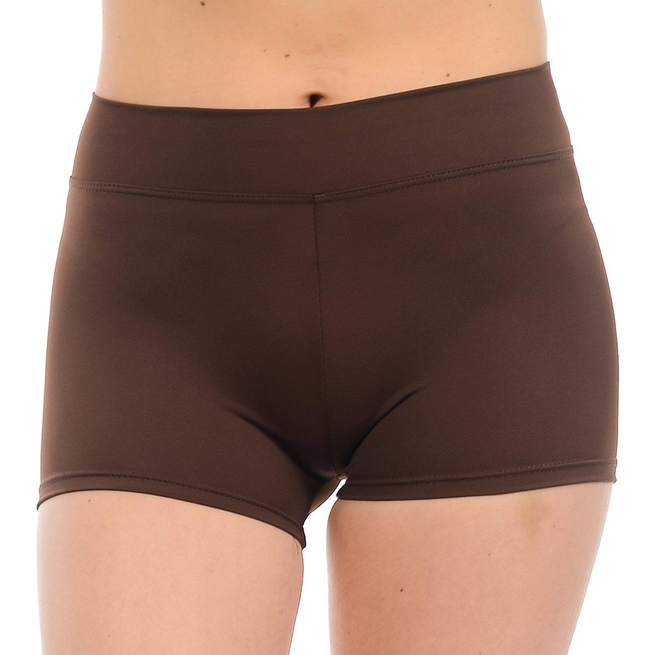 ANZA Girls Active Wear Dance Booty Shorts-Brown,Large