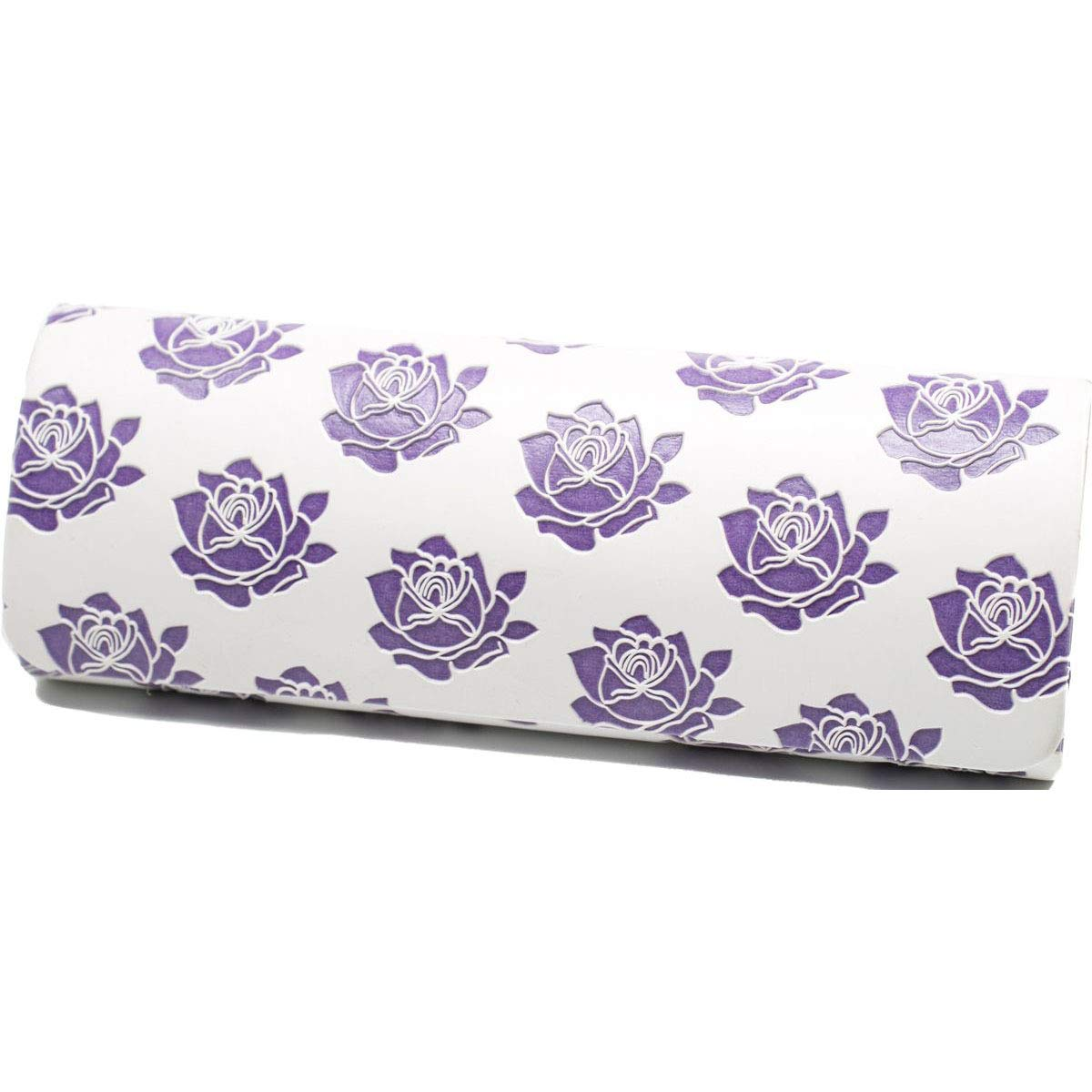 Handmade Russian Glasses case white with violet, on a solid basis, covered with artificial leather by RuPost