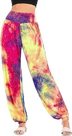 Amazon Com Pantalones De Tiro Alto Para Mujer Pantalones De Yoga Flojos Con Estampado De Tie Dye Clothing