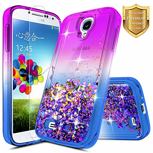 Galaxy S4 Case with [Tempered Glass Screen Protector], NageBee Glitter Liquid Quicksand Floating Flowing Sparkle Bling Luxury Clear Cute Case For Samsung Galaxy S4/S IV I9500 GS4 (Purple/Blue)