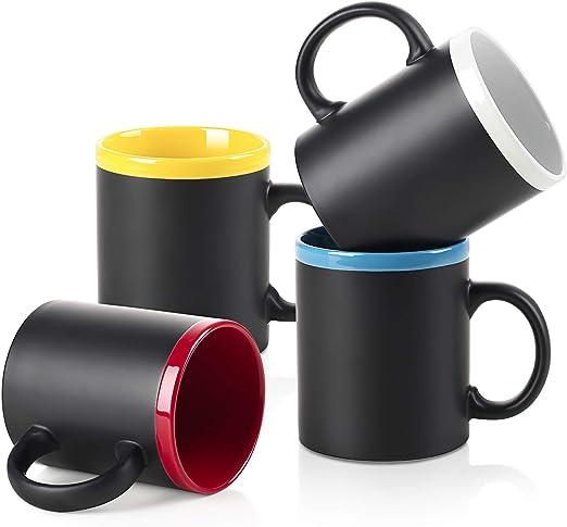 Amazon.com: LIFVER Juego de 4 tazas de café de porcelana, de ...