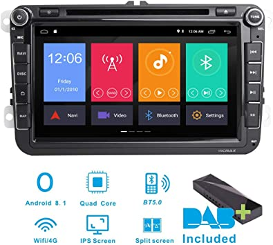 Estéreo para coche Android 8.1 DAB+ (incluido) para VW Seat Golf ...