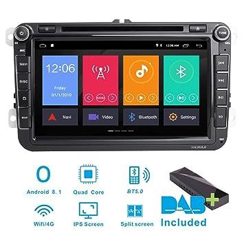 Estéreo para coche Android 8.1 DAB+ (incluido) para VW Seat Golf Polo Skoda Passat