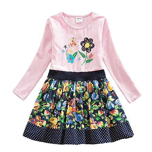 VIKITA 2017 New Kid Girl Embroidery Cotton Dress Long Sleeve LH6241PINK 7-8 Years
