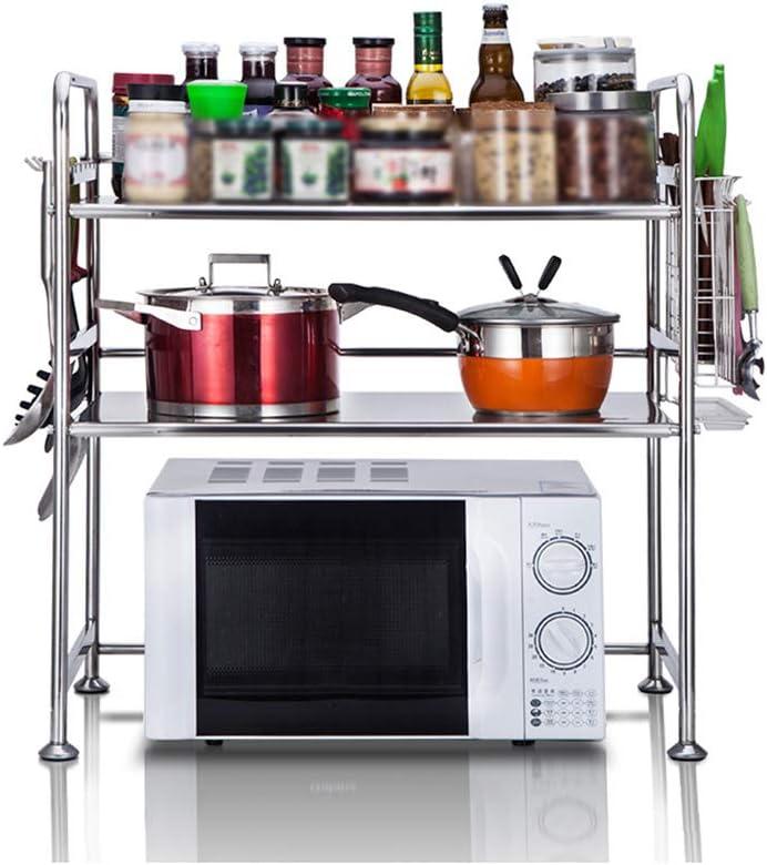 TLMY キッチンシェルフステンレス電子レンジラックキッチン収納ラック収納ラック調味料ラック キッチン収納 (Size : L63xW37xH69cm(A))