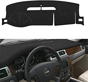 EONLION Car Dash Cover for Chevy Chevrolet Suburban/Tahoe 2007-2014,Chevrolet Avalanche Silverado 1500 LTZ 2007-2013,GMC Yukon All Models 2007 2008 2009 2010 2011 2012 2013 2014 (Black)