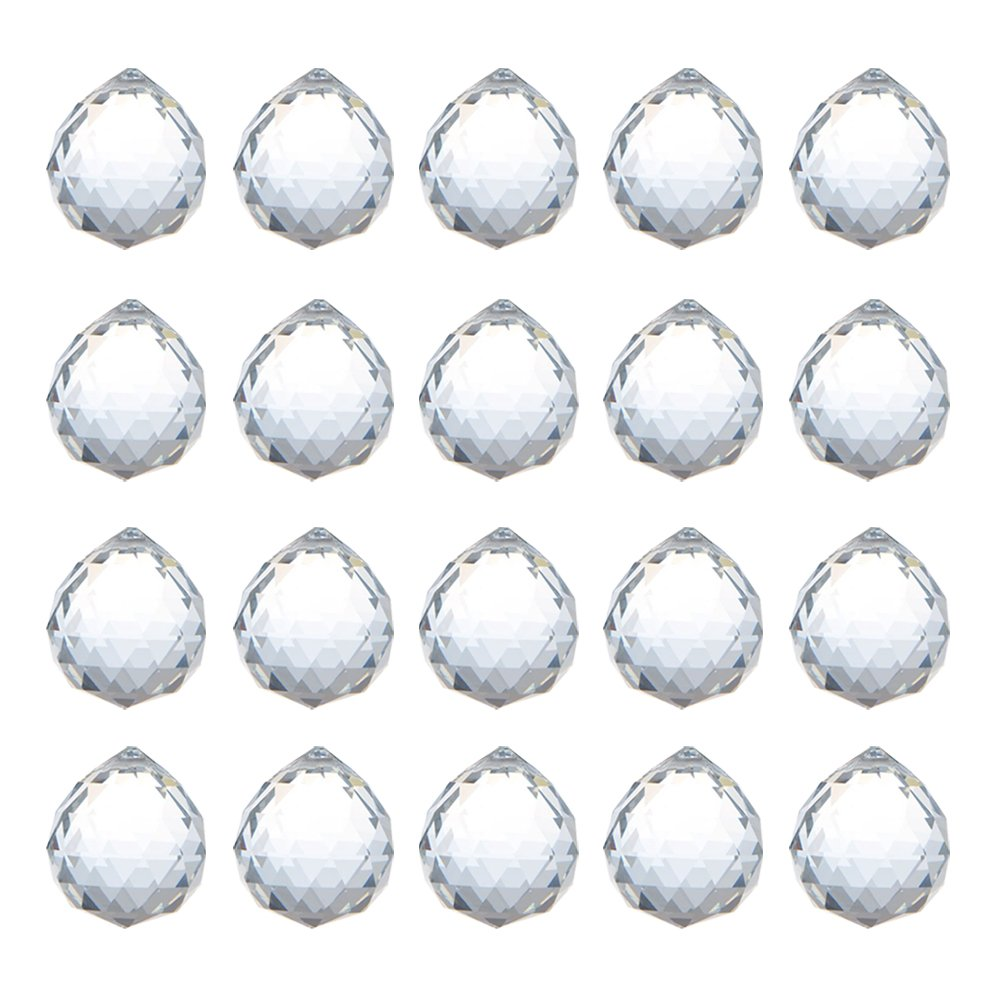 HS Novelty 20mm Clear Glass Crystal Ball Prism Feng Shui Lamp Hanging Drop Chandelier Pendants Suncatchers, Pack of 20