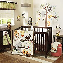 Lambs & Ivy Treetop Buddies Unisex 4 Piece Baby Crib Bedding Set