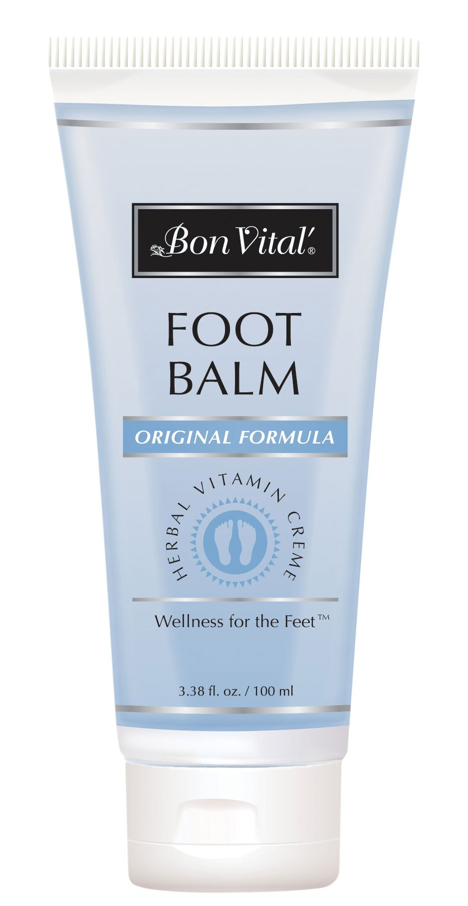 Bon Vital' Original Foot Balm, Foot Cream for Dry Skin & Cracked Heels, Moisturize Feet & Speed Healing of Blisters & Abrasions on Heel, Increase Circulation in Feet, 3.38 Ounce Tube