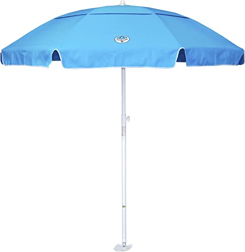 dig-git Best Beach Umbrella w Integrated Anchor – Aqua Blue