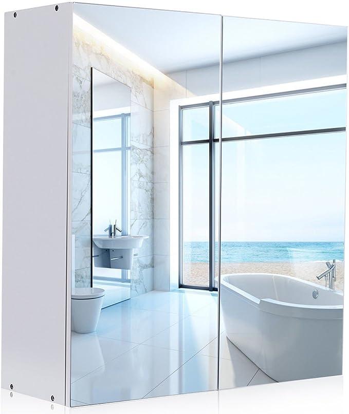 WATERJOY - Armario de Espejo, Espejo de Pared, Armario de Medicina con Puertas y estantes de Espejo, Armario de Moda para el hogar con diseño Moderno, Color Blanco: Amazon.es: Hogar