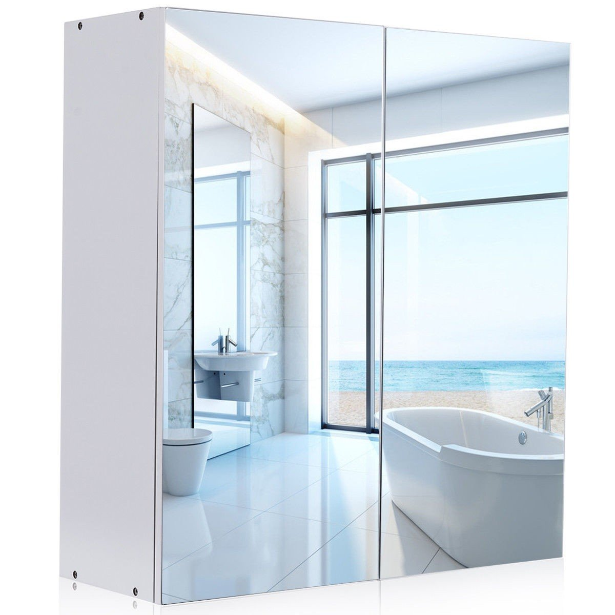Mirror Cabinet, WATERJOY Wall-Mounted Bathroom Mirror Medicine Cabinet with Mirrored Doors and Shelves, Home Fashions Cabinet Cupboard with Modern Design, White