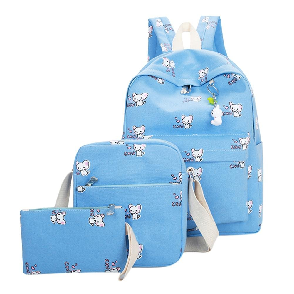 Diamondo 3pcs 2017 New Women Backpack Lovely Bunny Print Fashion Girls School Bag