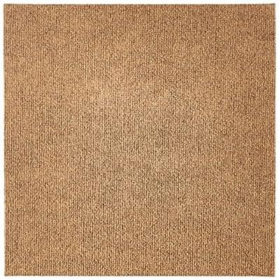 """Ribbed Carpet Tiles Residential Flooring Self Adhering 18""""x18"""" 16 Tile Pack 36 Sqft (Stone Beige)"""