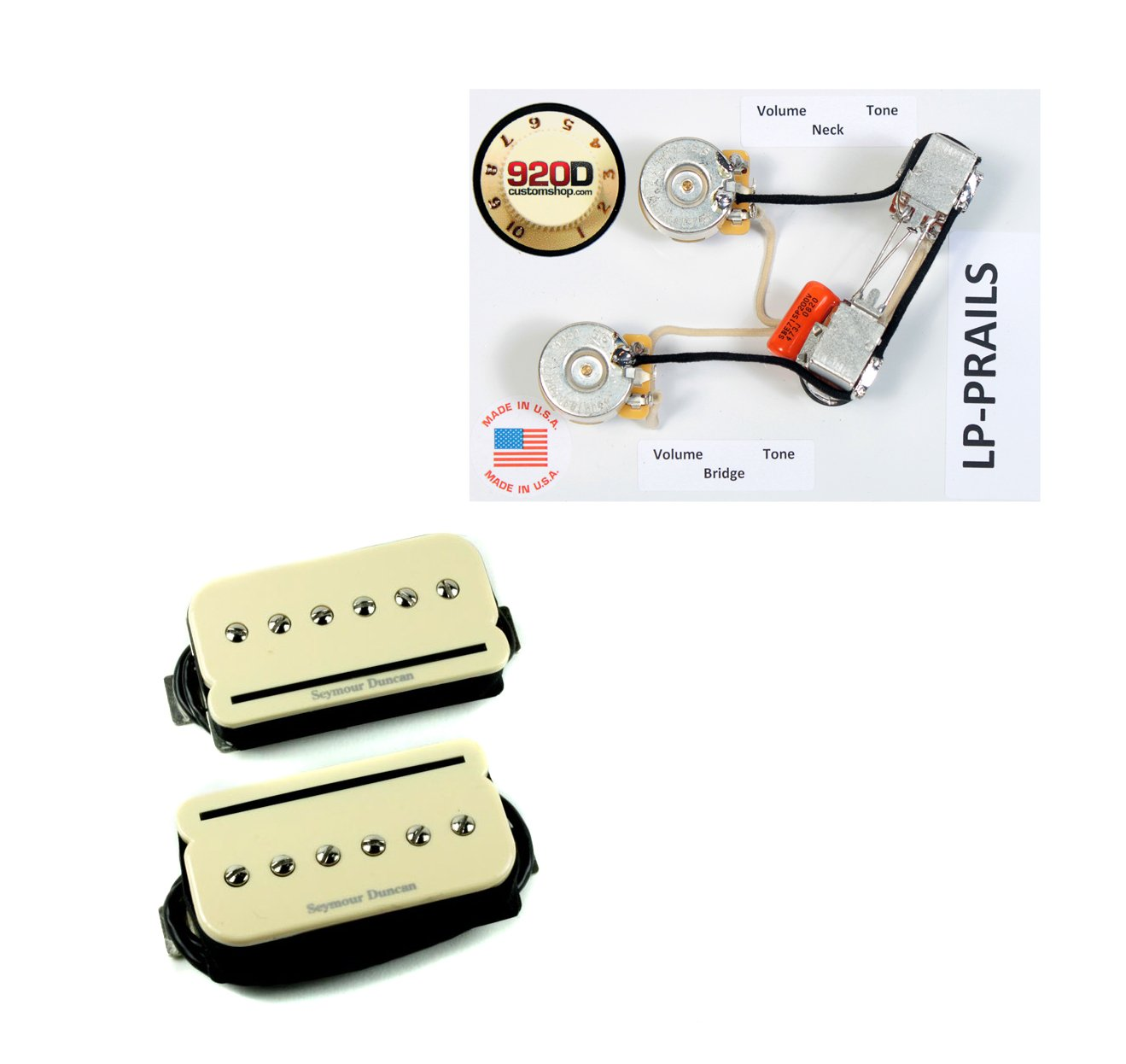 Seymour Duncan Shpr 1 P Rails Humbucker Pickup Set Whole Lotta Wiring Diagram Cream W Lp Prails Harness Musical Instruments