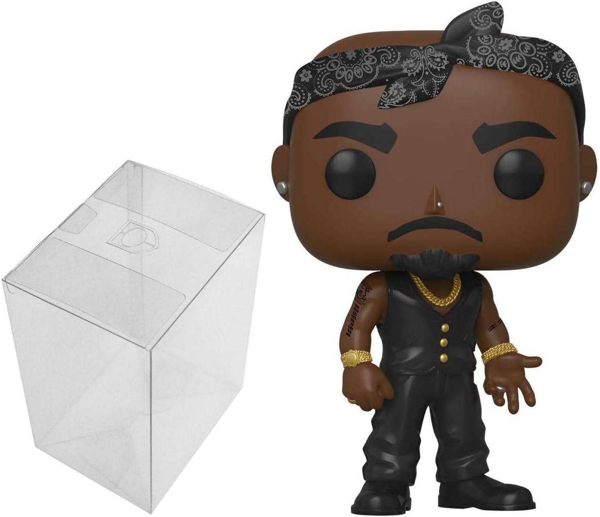 Rocks Funko POP Tupac Shakur Tupac in Vest with Bandana Bundle with 1 PopShield Pop Box Protector