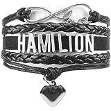 PHASSION Hamilton Bracelet - Black Handmade Adjustable Wrap with Infinity Love Charm Jewelry Gift