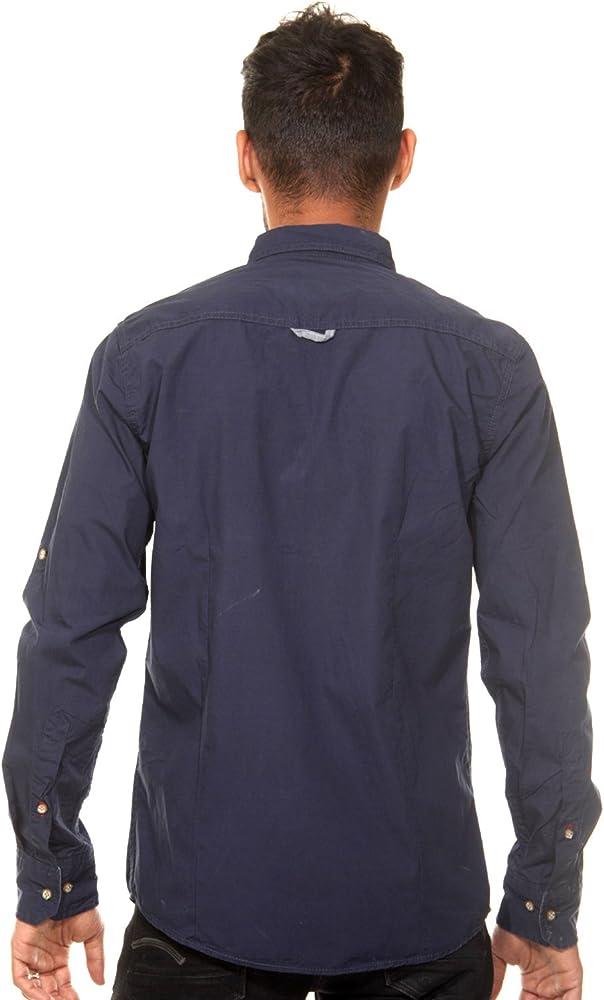 CAZADOR - Camisa casual - Clásico - Manga Larga - para hombre azul marino S: Amazon.es: Ropa y accesorios