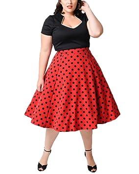 Mujer Gorda Golpe Color De Los Cordones Vestido De Manga Corta Dot Falda Grande Retro Rojo
