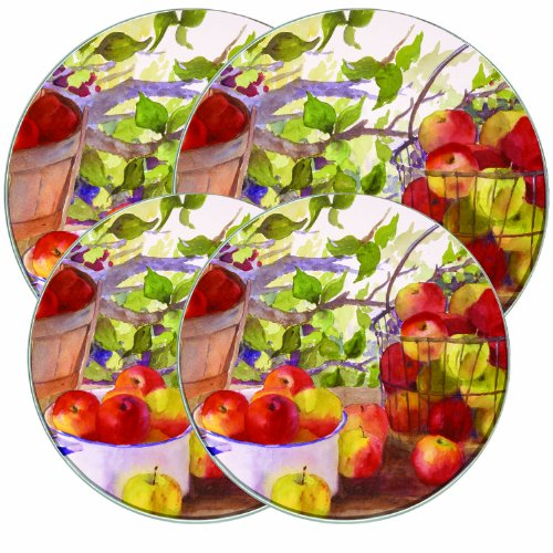 Range Kleen 5059 4 Pack Round Burner Kovers Apple Harvest with 2 Small 8.5 Inch and 2 Large 10.5 Inch