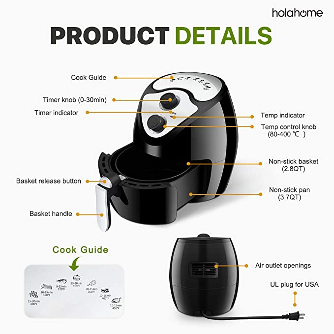 Amazon.com: Hot Oilless Electric Air Fryer - Large Best Airfryer 3.7QT Air Cooker Compact Digital Fryers Mini Freidora De Aire with Non Stick Frying Basket ...
