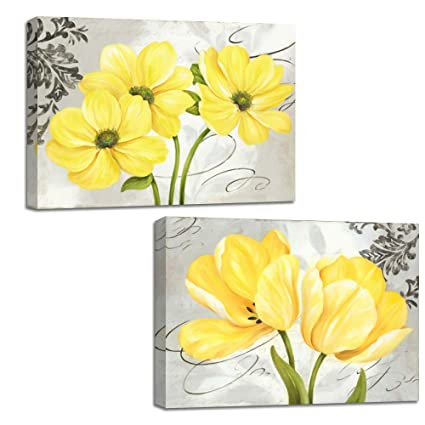 Beautiful Yellow And Gray Grey Blooming Flowers Canvas Wall Art Abstract  Floral Prints Home Decor Pictures
