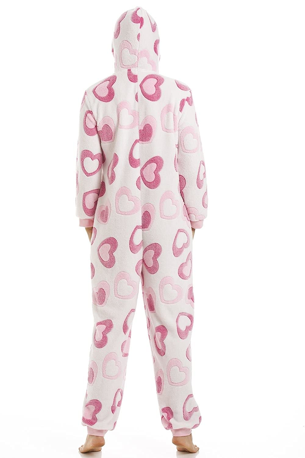 Amazon.com: Camille Ladies Nightwear Pink and White Heart Super Soft Fleece Hooded Onesie: Camille: Clothing