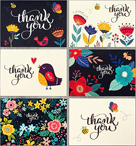 Thank You Cards by Spark Ink - 36 Floral Thank You Notes with Envelopes for Wedding, Baby & Bridal Shower, and Business Use - 4x6 Size - Bulk Pack]()