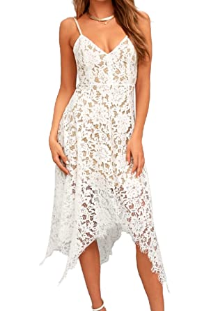 d798cfa3a43b0 Allimy Women's Summer Sleeveless Sexy V Neck Lace Midi Dress Cocktail Semi  Formal Dresses X-Large White